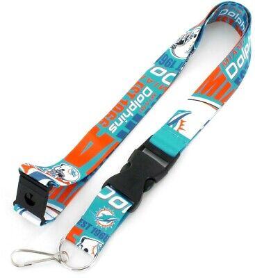 Miami Dolphins Football Team (Miami Dolphins Football Team Logo NFL Dynamic Lanyard Keychain w/ Safety)