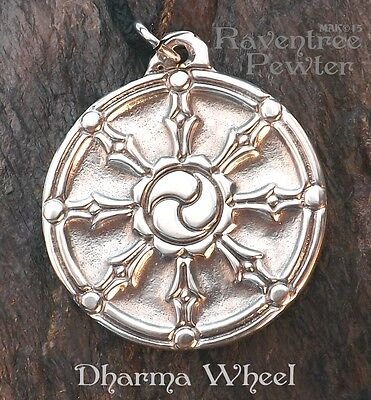 Dharma Wheel - Pewter Pendant- Buddhist Jewelry, Living in Balance, Right Action