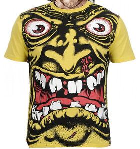 SANTA-CRUZ-Rob-Roskopp-Cabeza-Amarillo-Skate-Camiseta-Retro-039-De-los-anos-80
