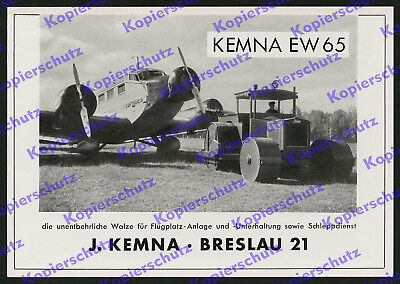 Luftfahrt Lufthansa Junkers Ju 52 Flugplatzbau Kemna Traktor Walze Breslau 1939