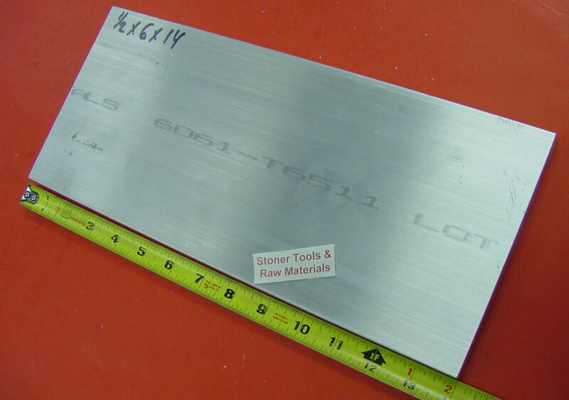 """1/2"""" X 6"""" ALUMINUM 6061 SOLID FLAT BAR 14"""" long Extruded Plate Mill Stock"""