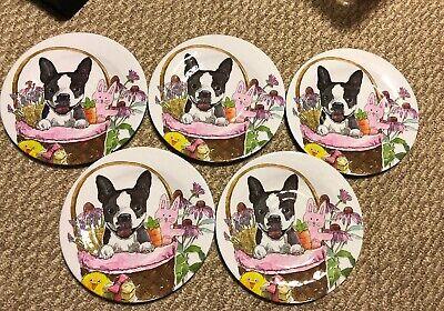 Prima Design Melamine Salad Plates Dogs, Boston Terrier Basket. Set Of 5, New.