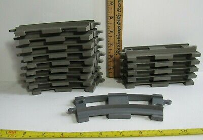Lot of 15 LEGO DUPLO TRAIN TRACKS Short Curved Striaght DARK GREY Spare Extra