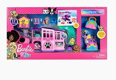 NEW 17PCS!! Barbie Deluxe Pet Set Dreamhouse Barbie Loves Pets Puppy Kitten Dog