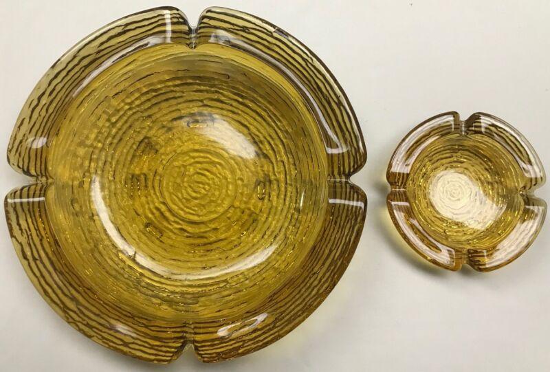Vintage Anchor Hocking Glass Amber Soreno Ashtray - Set of 2