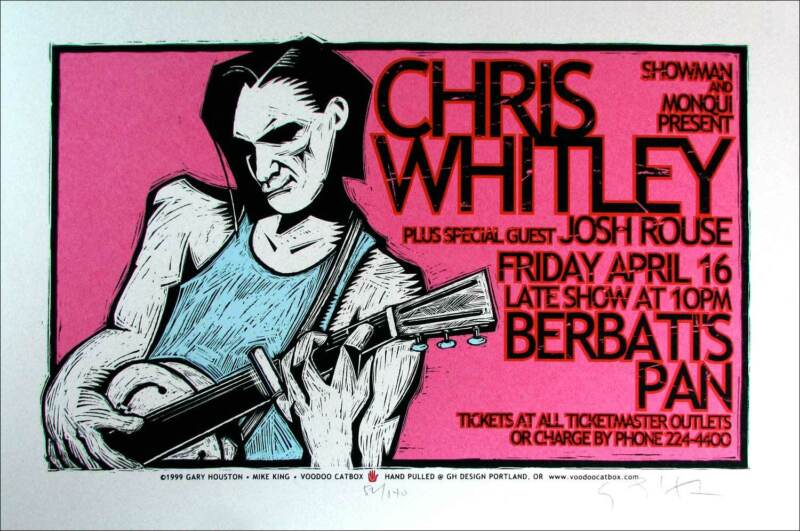 Chris Whitley Josh Rouse Poster Original Signed Silkscreen Gary Houston COA