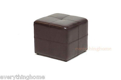 (MODERN SMALL DARK BROWN SQUARE CUBE LEATHER OTTOMAN FOOT STOOL FOOT REST SEATING)