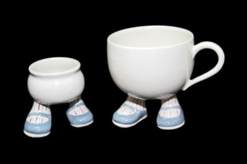 Vintage England CARLTONWARE Pottery Walking Feet Coffee, Egg Cup Blue Set 07