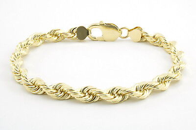 Real 10k Yellow Gold Genuine 6mm Italian Diamond Cut Rope Chain Link Bracelet 8""