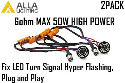 2x 1157 Load Resistor Fix Turn Signal Blinker Hyper/Fast/Quick Flashing/Blinking Double Contact Index Bayonet Base