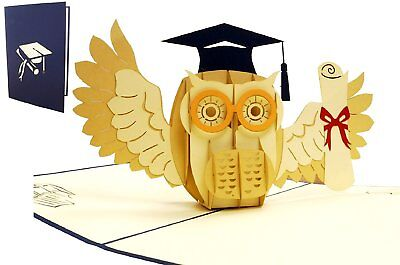 Eule Karten (POP UP 3D Klappkarte *Eule mit Urkunde* Glückwunsch, Abitur, Diplom, Doktor-Hut )