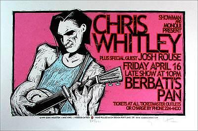 Chris Whitley Poster Josh Rouse Orig Signed Silkscreen by Gary Houston