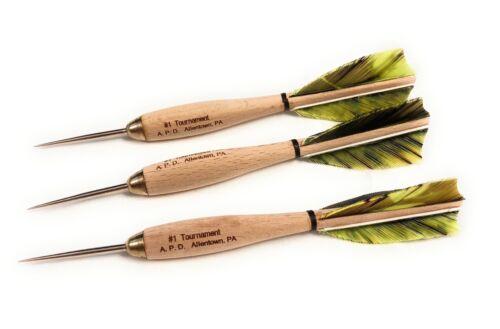 American proDart #1 Tournament Darts - wood body, steel tip, turkey feathers