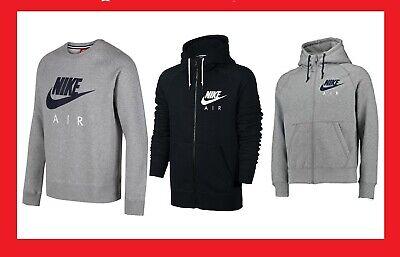 Nike AIR Full Zip Hoodie / Sweatshirt Fleece top -Grey - Black
