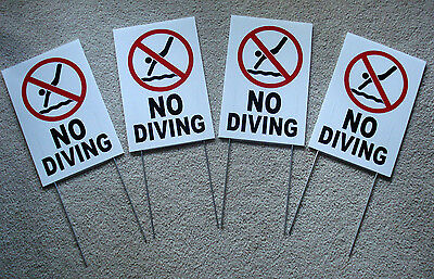 4 No Diving With Symbol 8 X12 Plastic Coroplast Signs With Stakes