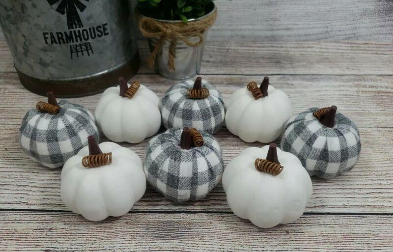 Gray White Buffalo Plaid Pumpkins Tabletop Decor Vase Filler Fall Farmhouse NEW