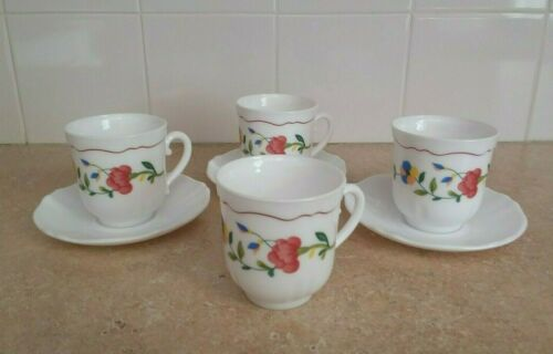 Arcopal France Multicolored Floral Cups and Saucers