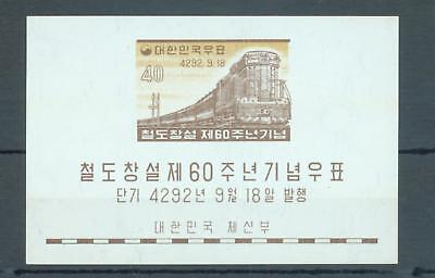 Thematics, trains South Korea 1959 sg.MS342 miniature sheet MNH