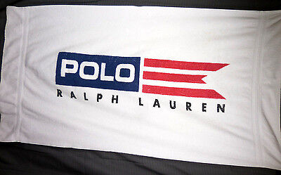 Vintage 1990's Ralph Lauren Polo Spell Out Flag Beach Towel Made in USA Cotton