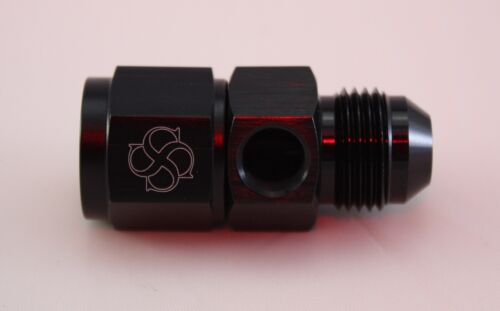 Y33 -8AN Female To -8AN Male W/ 1/8 NPT Side Port For Gauge Sensor BLACK Coupler