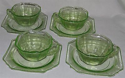 Hocking USA Princess Green Depression Era 4 Cup & Saucer Sets