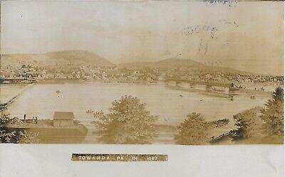 Bird's Eye View 1867 Towanda PA RPPC Real Photo vintage postally used in 1908
