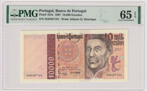 Portugal 10,000 Escudos 1997 Pick191b PMG 65 EPQ Gem Uncirculated UNC