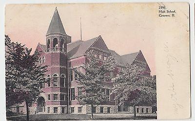 C1910 Genesco Illinois Ill Postcard High School