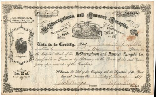 McSherrystown and Hanover Turnpike Co Pennsylvania 1887 Issued Stock Certificate