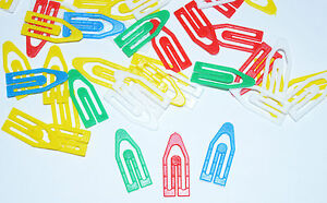 Paper Clips Plastic Clips ASSORTED COLOURS PAPERCLIPS  22mm x 10mm