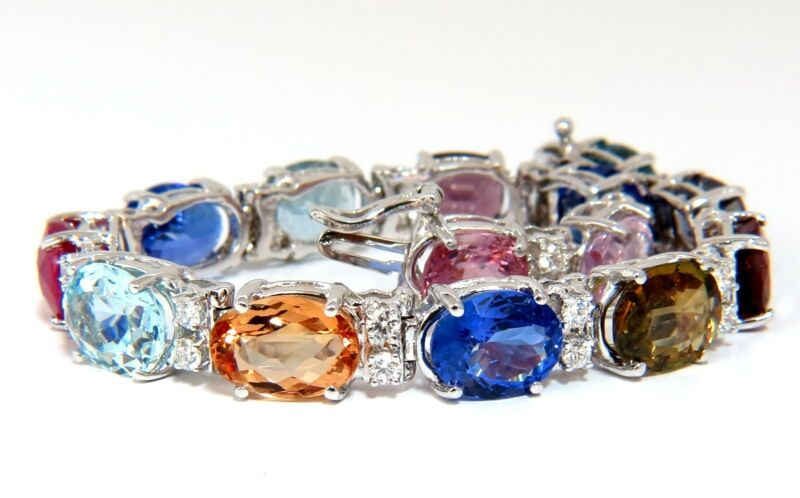 37.93ct Natural Tanzanite Sapphire Aquamarine Spinel Diamonds Bracelet+