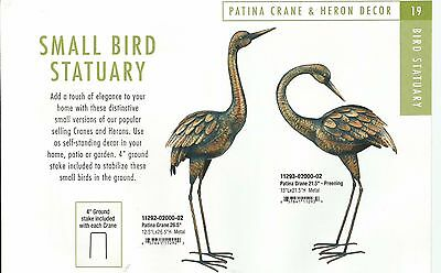 Small Bird Statuary - PATINA CRANE   UP & DOWN SET OF 2 REGAL ART & GIFT 11292-3