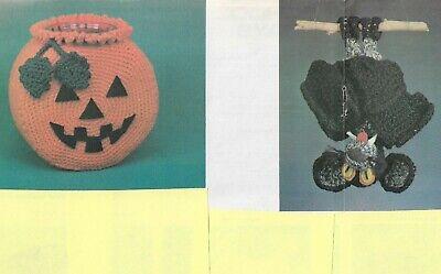 Halloween Bat Crochet Patterns (HALLOWEEN CANDY BOWL PUMPKIN & BORUS BAT CROCHET PATTERN)