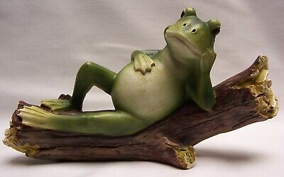 Frog On A Log Figurine, 7 inches long  (C) Home Cabin Decor (NAT)