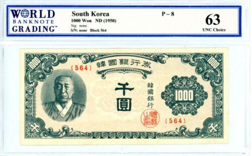 Korea South ... P-8 ... 1000 Won ... ND(1950) ... *Ch UNC*