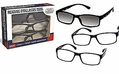 3 Reading Eyeglasses With Sunreader Sunglass Glasses Eye Black Frames Unisex (Sunglasses With Reading Glasses)