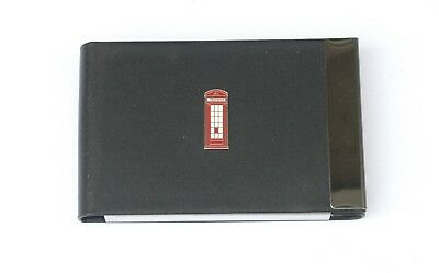 Telephone Box Black Pu And Metal Business Or Credit Card Holder Gift 365