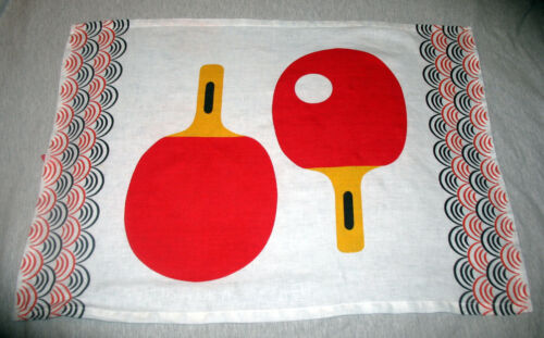 Rare Vintage Mid Century Ping Pong Paddle Linen Dish Tea Towel Retro!