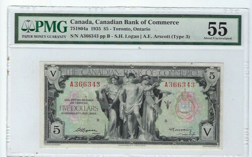 1935 $5 CANADIAN BANK OF COMMERCE CHARTERED BANKNOTE PMG AU55  751804a