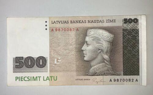 Latvian Lettland 500 Latu 1992 banknote A 9870082 A VF Circulated
