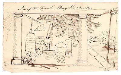 Original Pen & Ink Sketch by Banastre Tarleton, Revolutionary War British Leader