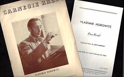 Pianist VLADIMIR HOROWITZ 1953 Carnegie Hall Concert Program / Analytical Notes