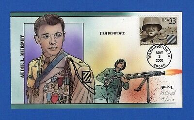 Scott 3396 33c Audie Murphy Distinguished Soldiers Hand Painted FDC by Bevil