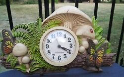 Vintage BURWOOD PRODUCTS Retro Kitsch Kitchen Mushroom & Butterfly Wall Clock