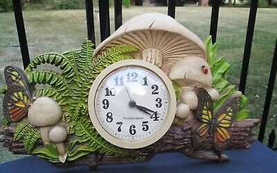 Vintage BURWOOD PRODUCTS Retro Kitsch Kitchen Mushroom & Butterfly Wall Clock