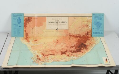 1936 Royal Automobile Club of South Africa Shell Gas Physical Road Map