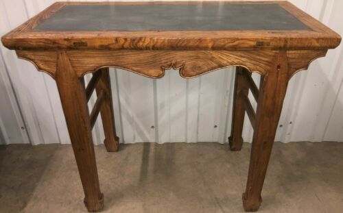A Chinese Qing Style Table Desk with Slate Stone Top Natural Finish Elm Wood