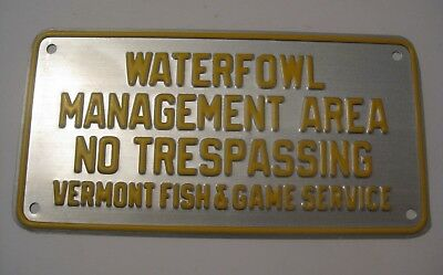 NOS RARE ORIGINAL VINTAGE 1940's FISH AND GAME WATERFOWL HUNTING EMBOSSED SIGN