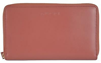 New Gucci 321117 XL Salmon Pink Leather Zip Around Travel Coin Wallet Clutch