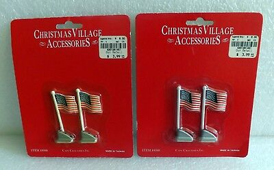 NISP VINTAGE CAPE CRAFTSMEN CHRISTMAS VILLAGE ACCESSORY LOT OF 4 AMERICAN FLAGS